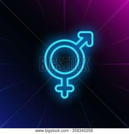 Heterosexuality Neon Sign. Glowing White Heterosexual Symbol On Brick Wall Background. Vector Illust