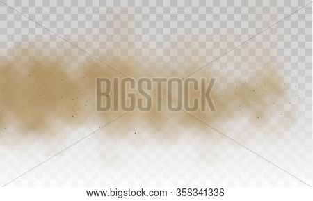 Flying Sand. Brown Dusty Cloud Or Dry Sand Flying With A Gust Of Wind, Sandstorm. Dust Cloud. Scatte