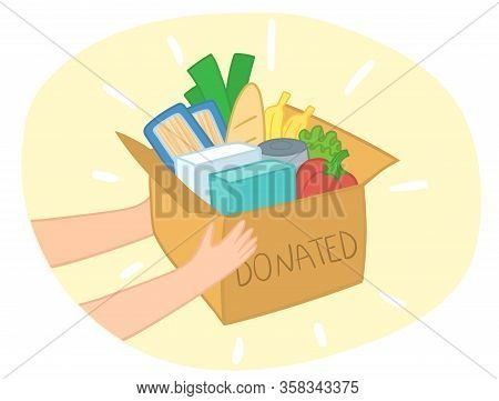 Food Donation Box Vector With Different Food In It. Hands Giving Box. Charity Card-box With Food. De