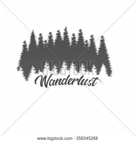 Wanderlust Adventure Forest Logo White Background Vector Illustration