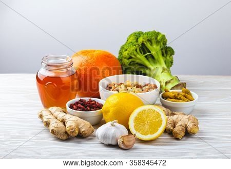 Food For Immunity Stimulation And Viruses Protection. Broccoli, Citrus Fruits, Honey, Ginger, Lemon,