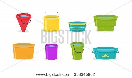 Set Of Realistic 3d Colored Empty Plastic Buckets With Handle. The Bucket Is Empty And Filled With W