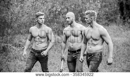 Strength And Perseverance. Men With Muscular Torso. Brutal Macho Style. Strong Men Nature Background