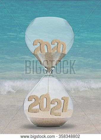 New Year 2021 Hourglass With Ocean Beach Background