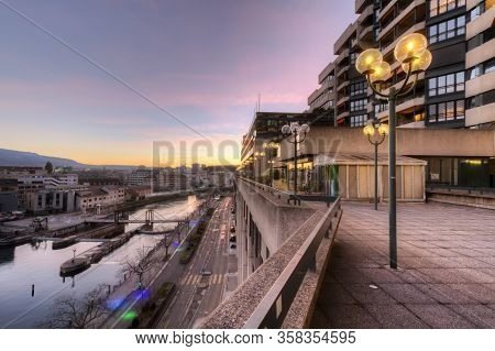 Rhone River And Old Buildings By Sunset, Geneva, Switzerland - Hdr