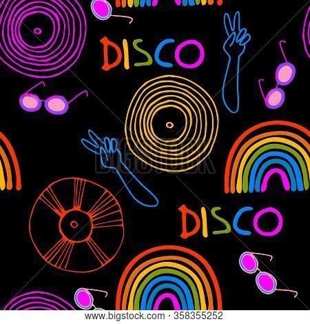 Seamless Pattern. Disco Party Concept. 1970s - Early 1980s Style Design