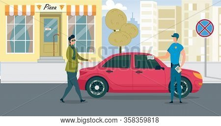Policeman Write Penalty For Improper Parking. Man In Uniform Attache Notice Payment Fine To Car Is U