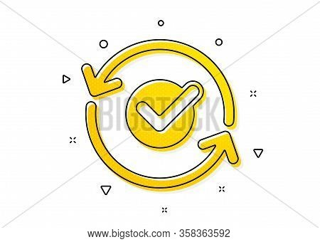 Accepted Or Confirmed Sign. Approved Icon. Refresh Symbol. Yellow Circles Pattern. Classic Approved