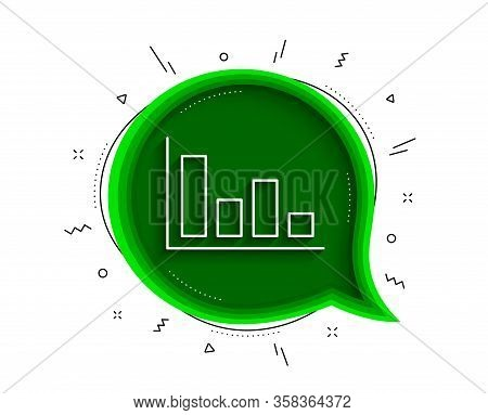 Histogram Column Chart Line Icon. Chat Bubble With Shadow. Financial Graph Sign. Stock Exchange Symb