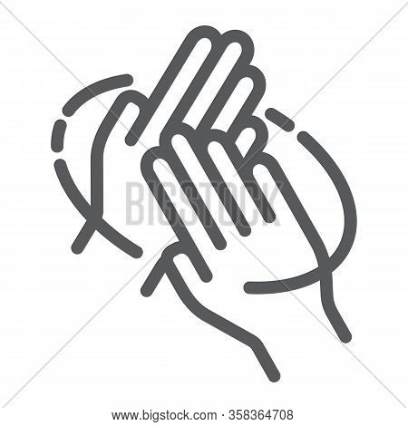 Rub Hands Palm To Palm Line Icon, Wash And Hygiene, Sanitary Sign, Vector Graphics, A Linear Pattern