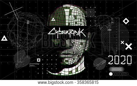 Digital Abstract Artwork With Cyberpunk Shapes. Black And White Glitch Generative Art Background, Te