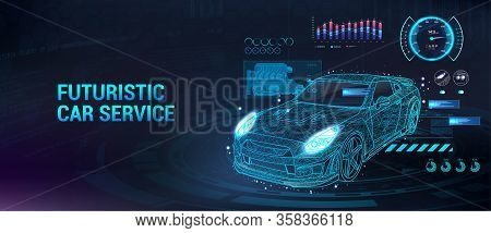 Car Service Future With Hud Interface. Diagnostic Auto, With Infographics, Analysis And Statistic. H