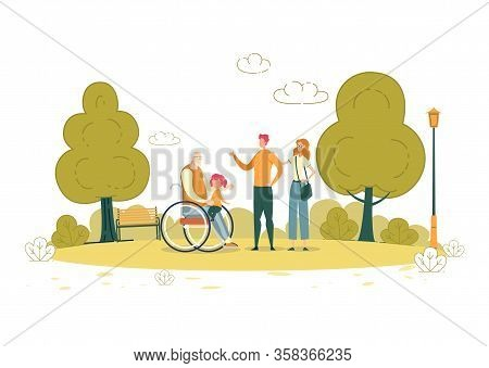 Walk In Fresh Air With Paralyzed Grandfather. Gray-haired Man In Wheelchair Went To Park With Family