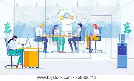 Conference, Briefing Flat Vector Illustration. Businesspeople, Meeting Participants And Secretary Fa