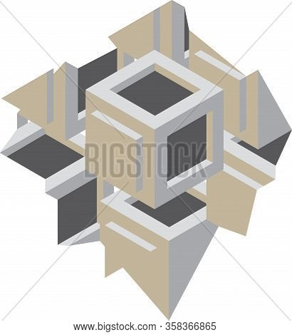 Fragment Of Decorative Gray Grid Or Wall. Pattern With Carved Rounded Shapes. 3d Sample Design. Abst