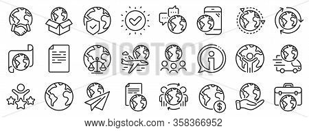 Global Law, Translate Language, Outsource Business. World Business Line Icons. International Organiz