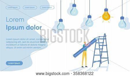 Brain Work For Successful Best Idea Promotion Metaphor. Sturtuper Businessman Male Cartoon Character