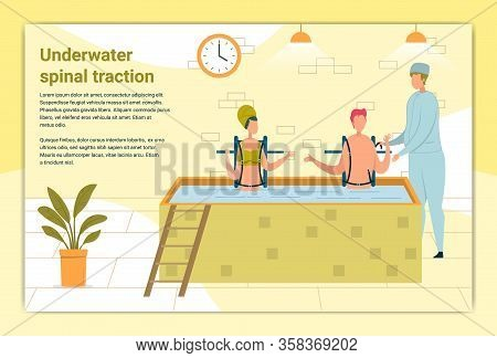 Underwater Spinal Traction Banner. Doctor Helping Patient, Doing Water Procedure. Man And Woman With
