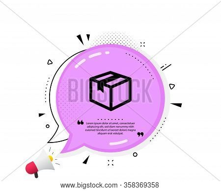 Shipping Box Icon. Quote Speech Bubble. Logistics Delivery Sign. Parcels Tracking Symbol. Quotation