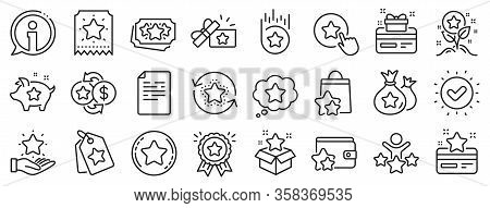 Bonus Card, Redeem Gift And Discount Coupon Signs. Loyalty Program Line Icons. Lottery Ticket, Earn