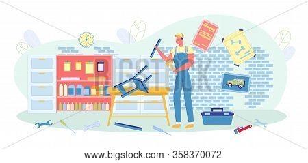 Man In Uniform Making Chair In Workshop Or Garage Flat Cartoon Vector Illustration. Repair Guy With