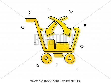 Market Retail Sign. Cross Sell Icon. Yellow Circles Pattern. Classic Cross Sell Icon. Geometric Elem