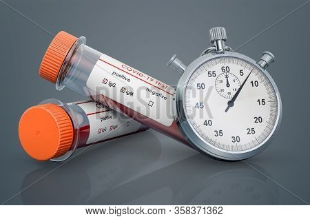 Rapid Test Coronavirus, Covid-19 Concept. Stopwatch And Test Tubes With Positive Blood Samples For C