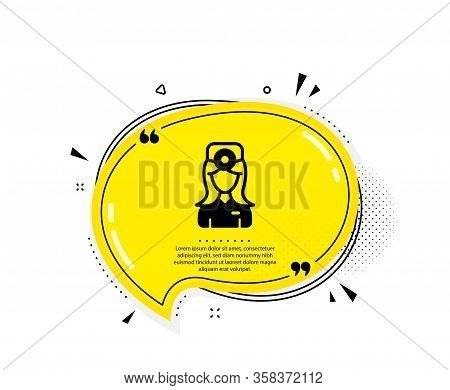Oculist Doctor Icon. Quote Speech Bubble. Health Eye Sign. Optometry Clinic Symbol. Quotation Marks.