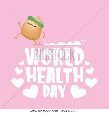 World Health Care Day Vector Illustration With Cartoon Funky Potato Character Running Or Jogging Out