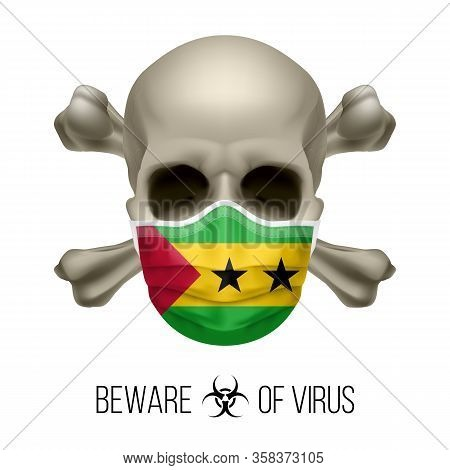 Human Skull With Crossbones And Surgical Mask In The Color Of National Flag Sao Tome And Principe. M