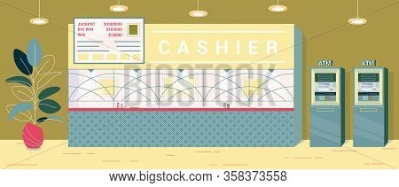 Cashier Desk For Exchanging Won Chip For Money. There Separate Cashier In Casino, Place Fenced With