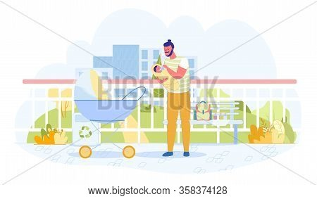 Joyful Father Feeds Baby From Bottle, Cartoon. Man Walks Down Street With Stroller. Dad Stopped Near