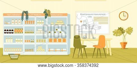 Medicament Shelf, Table For Measuring Pressure. In Pharmacy There Chair And Table With Tonometer. On