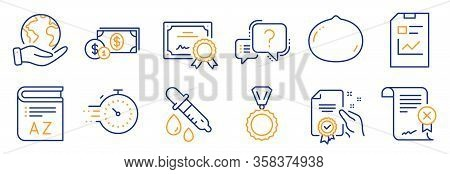 Set Of Business Icons, Such As Timer, Reject Certificate. Certificate, Save Planet. Report Document,