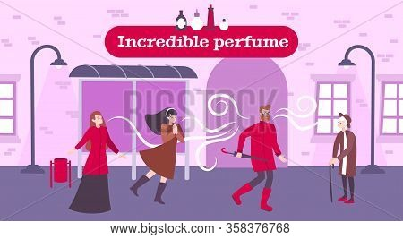 Perfume Odor Background With Incredible Perfume Symbols Flat Vector Illustration