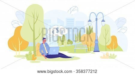 Freelancer Work In Relaxed Atmosphere In Park. Man Conveniently Located On Lawn, Thinking About Maki