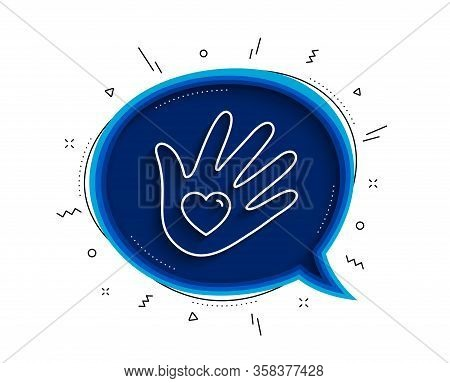 Social Responsibility Line Icon. Chat Bubble With Shadow. Hand With Heart Sign. Charity Symbol. Thin