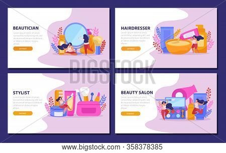 Beauty Salon Flat Banner Set Or Landing Page With Beautucan Hairdresser Stylist Headlines Vector Ill