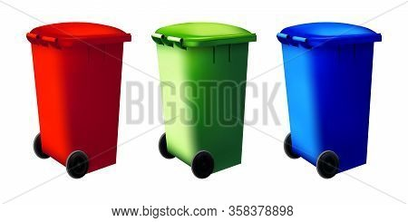 Trashcan Recycled Container. Street Dustbin Set. Sorting Eco System Bin. Vector Collection Of Recycl