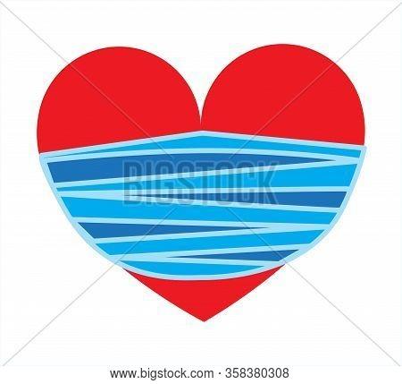Covid 19. Coronovirus. Symbol Of Life Icon Red Heart Mask.vector, Illustration, Isolate,