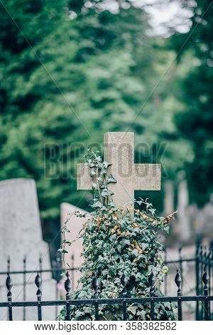 Vertical Picture Of Old Stone Cross On Grave Or Cementary. Daylight And Green Trees On Blurred Backg