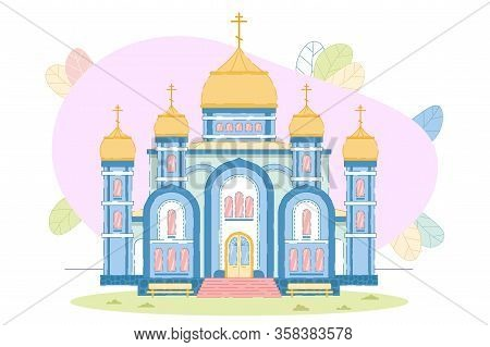 Christian Orthodox Church Building Exterior Design. Dome, Chapel With Cross Architecture. Religion H