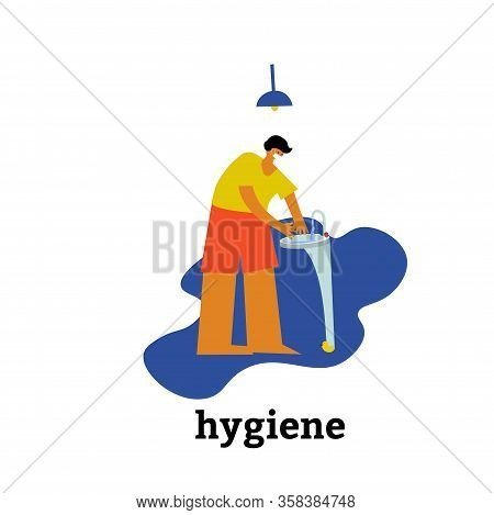 A Person Maintains His Immunity. Washes Hands While Maintaining Body Cleanliness And Hygiene. Vector
