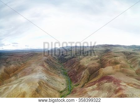 Altai landscape. Geological formation near Kyzyl Chin river. Siberia, Russia, Altai.