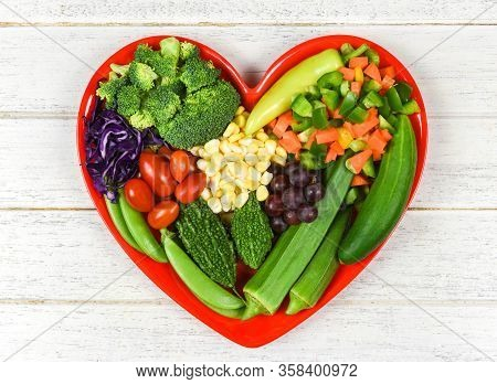 Healthy Food Selection Clean Eating For Heart Life Cholesterol Diet Health Concept/ Fresh Salad Frui