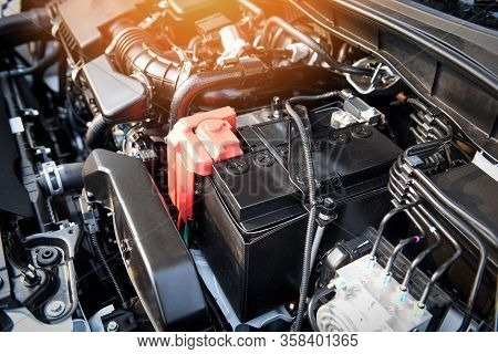 Battery Car Engine Detail Motor / Close Up Of Machine New Batteries Car Engine Checking Car Battery