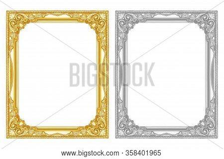 The Antique Gold Frame Isolated On The White Background