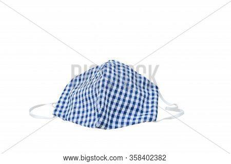 Mask Fabric Striped Blue - White Homemade On White Background. Prevent Coronavirus Or (covid-2019) C