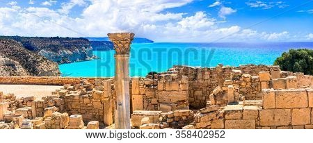 Landmarks of Cyprus island  - antique Kourion Temple over beautifil sea