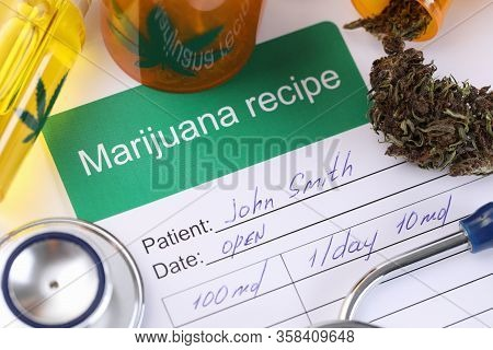 Prescribing Doctor For Marijuana Use By Patient. Cannabis Is Used In Treatment Cancer Patients As An